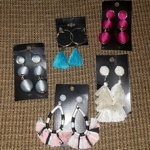 Bundle of 5 new boutique tassel earrings